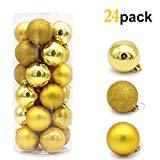 Offer for HOXHA Christmas Balls Oranment, Pendants Shatterproof Baubles for Xmas Tree Branches Decorations Large Hanging Ball for Holiday Wedding Party Decor (Gold)
