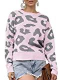 Offer for Women's Stylish Leopard Pullover Sweater Long Sleeve Knitwear Blouse Pink
