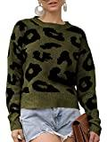 Offer for GAMISOTE Womens Leopard Crop Sweaters Fall Long Sleeve Loose Fitting Pullover Jumper Army Green