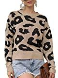 Offer for GAMISOTE Womens Leopard Crop Sweaters Fall Long Sleeve Loose Fitting Pullover Jumper Khaki