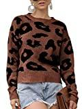 Offer for GAMISOTE Womens Leopard Crop Sweaters Fall Long Sleeve Loose Fitting Pullover Jumper Brown