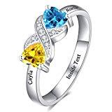 Offer for Dreamdecor Personalized Promise Rings with 2 Simulated Birthstone, Sterling Silver Engraved Engagement Ring with Names for Her