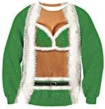 Offer for UNICOMIDEA Women Ugly Christmas Pullover with Bikini Print Fancy Sweatshirts Men Cool Sweater with Christmas Green Funny Party Pullover Soft Long Sleeve Thin Hoodies Large