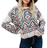 Offer for ETCYY NEW Womens Oversized Pullover Sweater Colorblock Rainbow Striped Casual Long Sleeve Loose Knitted Shirts Tops (Bohemia, Medium)