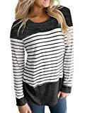 Offer for Hount Woman Striped Shirt Basic Long Sleeve Color Block Blouses Tops Black