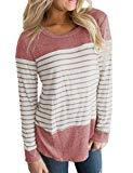 Offer for Hount Womens Casua Round Neck Striped Long Sleeve AutumnT-Shirts Blouse Red