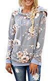 Offer for MODARANI Tunic Sweaters for Women Gray Floral Pirnt Sweagshirt Hoodies Pullover S
