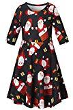 Offer for Christmas Costume Dresses Girl 3/4 Sleeve Red Xmas Santa Claus Printed Dresses for Kids Child 8-9T
