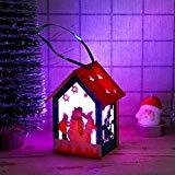 Offer for UNBRUVO Hanging Christmas Ornament Sets,LED Light Wooden Dolls House Villa Christmas Ornaments Xmas Tree Hanging Decor
