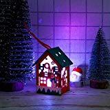 Offer for UNBRUVO Christmas Plush Ornaments,LED Light Wooden Dolls House Villa Christmas Ornaments Xmas Tree Hanging Decor