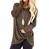 Offer for KANGMOON Women's Comfy Casual Long Sleeve Round Neck Tops Side Twist Knotted Loose Blouse Tunic T Shirts Sweatshirts S-XXL Coffee