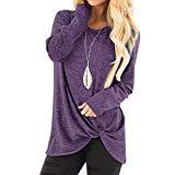 Offer for KANGMOON Women's Comfy Casual Long Sleeve Round Neck Tops Side Twist Knotted Loose Blouse Tunic T Shirts Sweatshirts S-XXL Purple