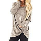 Offer for KANGMOON Women's Comfy Casual Long Sleeve Round Neck Tops Side Twist Knotted Loose Blouse Tunic T Shirts Sweatshirts S-XXL Khaki