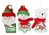 Offer for YING LING CRAFTS Christmas Tree Decorations Ornaments, Set of 3 Hanging Festive Seasonal Decorations, Plush Christmas Pendants, Xmas Santa Claus, Noel Snowman, Joy Bear for Xmas Party Home Decor