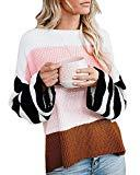 Offer for ETCYY NEW Womens Oversized Pullover Sweater Colorblock Rainbow Striped Casual Long Sleeve Loose Knitted Shirts Tops (Pink01, Small)