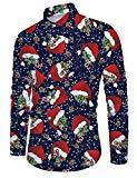 Offer for Belovecol Hawaiian Shirt for Men Long Sleeve Button Down Christmas Hats Santa Multiple Colors Printed Tee Shirts for Party Outdoor Holiday Vacation XL