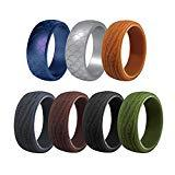 Offer for Silicone Wedding Ring for Men,Wedding Band,Rubber Bands Ring for Sportsmen.7 Ring Pack - Safe, Comfortable, Stylish, Strong,Active Athletes, Crossfit,Workout (#8, 7packs)