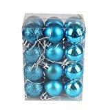 Offer for Aimik 24ct 40mm Frozen Winter Silver White Shatterproof Christmas Ball Ornaments Decoration,Themed with Tree Skirt(Not Included) (Sky Blue, 3cm)