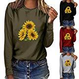 Offer for KANGMOON Women Round Neck T Shirt Basic Plus Size Sunflower Print Long Sleeve Tops Loose Casual Blouse Pullover