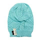 Offer for QIUUE Women Winter Warmer Stretch Knitted Cap Beanie Hats Hairball Beanies for Boys Girls Knitting Wool Thick Baggy Snow Hat