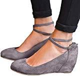 Offer for YOMISOY Womens Mary Jane Wedges Pumps Platform Closed Toe Ankle Strap Buckle Work Shoes