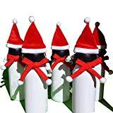 Offer for EAROOMZE 5 Pcs Mini Santa Hat Christmas Pet Scarf for Christmas Silverware Holders, Candy Covers, Wine Bottle Decorations