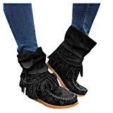 Offer for Pongfunsy Women Boots, Ladies Fashion Round Tassel Fringe Ankle Boots Casual Round Toe Short Boots Casual Flat Shoes (7, Black)