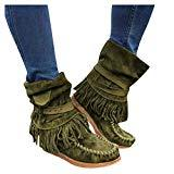 Offer for Pongfunsy Women's Boots Ladies Fashion Casual Round Toe Rome Retro Fringe Short Ankle Boots Flat Shoes (4.5, Green)