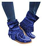 Offer for Pongfunsy Women's Boots Ladies Fashion Casual Round Toe Rome Retro Fringe Short Ankle Boots Flat Shoes (10, Blue)