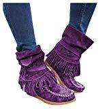 Offer for Pongfunsy Women's Boots Ladies Fashion Casual Round Toe Rome Retro Fringe Short Ankle Boots Flat Shoes (4.5, Purple)