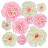 Offer for Yookat 10Pieces Artificial Paper Flowers Decorations Paper Flowers Handcrafted Flowers DIY Craft for Wall Wedding Backdrop Party Decorations Pink White