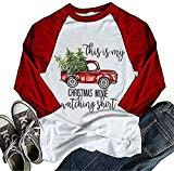 Offer for Women Christmas T-Shirt This is My Christmas Movie Watching Shirt 3/4 Sleeve Raglan Tops (M, A-red)