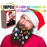 Offer for Christmas Beard Lights Ornaments,18Pcs Santa Beard Beads Bauble Ornaments Decorations for Tree,Great Christmas and New Year Festival Gift for Village Set Santa Claws Shirt Ugly Sweater Party Supplies