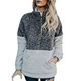 Offer for AMOUSTORE Women's Cozy Oversize Fluffy Fleece Sweatshirt Pullover Outwear