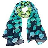 Offer for Women Lady Shawl Chiffon Dot Rectangle Scarf Scarves Gauze Kerchief (Blue)