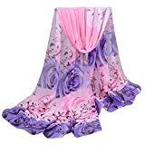 Offer for Women Floral Printed Silk Soft Silk Chiffon Shawl Wrap Wraps Scarf Scarves (Pink 2)