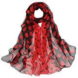 Offer for Women Lady Shawl Chiffon Dot Rectangle Scarf Scarves Gauze Kerchief (Wine Red 2)
