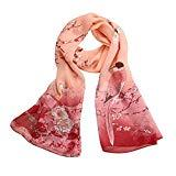 Offer for Women Printed Soft Chiffon Shawl Wrap Wraps Scarf Scarves (Pink 2)