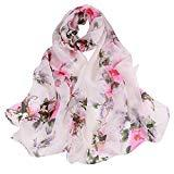 Offer for LOMONER Women Lightweight Scarf Shawl Wrap Soft Romantic Flower Print Lightweight Infinity Fashion Scarf & Head Wrap (Multicolor)