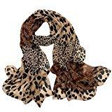 Offer for LOMONER Spring Fall Lightweight Large Leopard Print Little Silk Scarf Shawl Wrap with Soft for Women (Coffee)