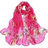 Offer for LOMONER Women Lightweight Scarf Shawl Wrap Soft Romantic Flower Print Lightweight Infinity Fashion Scarf & Head Wrap (Hot Pink)