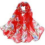 Offer for LOMONER Women Lightweight Scarf Shawl Wrap Soft Romantic Flower Print Lightweight Infinity Fashion Scarf & Head Wrap (Red)