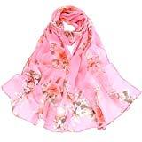 Offer for LOMONER Women Lightweight Scarf Shawl Wrap Soft Romantic Flower Print Lightweight Infinity Fashion Scarf & Head Wrap (Pink)