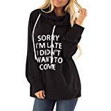 Offer for QUNANEN Womens Casual Hooded Lettle Print Sweatshirt Loose Drawstring Pullover Hoodies Shirt Tops Black