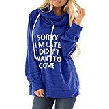 Offer for QUNANEN Womens Casual Hooded Lettle Print Sweatshirt Loose Drawstring Pullover Hoodies Shirt Tops Blue