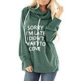 Offer for QUNANEN Womens Casual Hooded Lettle Print Sweatshirt Loose Drawstring Pullover Hoodies Shirt Tops Green
