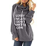 Offer for QUNANEN Womens Casual Hooded Lettle Print Sweatshirt Loose Drawstring Pullover Hoodies Shirt Tops Gray