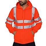 Offer for QIUUE Mens Reflective Hooded Sweatshirt Road Work High Visibility Pullover Long Sleeve Hooded Tops Blouse Orange