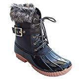 Offer for Mafulus Womens Mid Calf Snow Boots Winter Faux Fur Lined Lace Up Strap Buckle Duck Booties Black