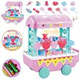 Offer for VEZARON Snacks & Sweets Food Cart Pretend Play Candy Shop Food Cart Playset, Fruit Ice Cream Candy Food Car Toys Playsets, Great Gifts Set for Children (Pink)
